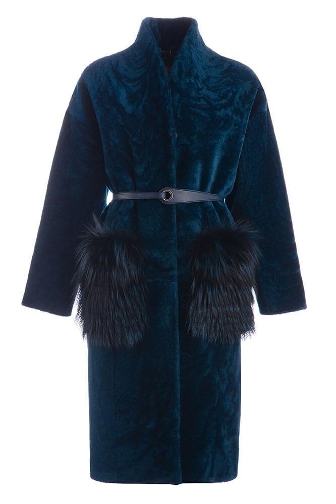 Пальто меховое женское Adamo с накладными карманами