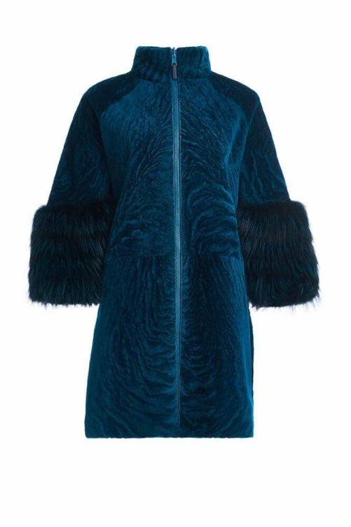 Меховое пальто на молнии