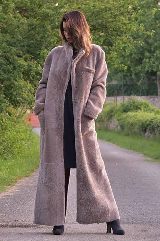 Длинное пальто из овчины ADRIANO BARONI