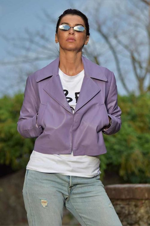 Короткий кожаный пиджак ADRIANO BARONI
