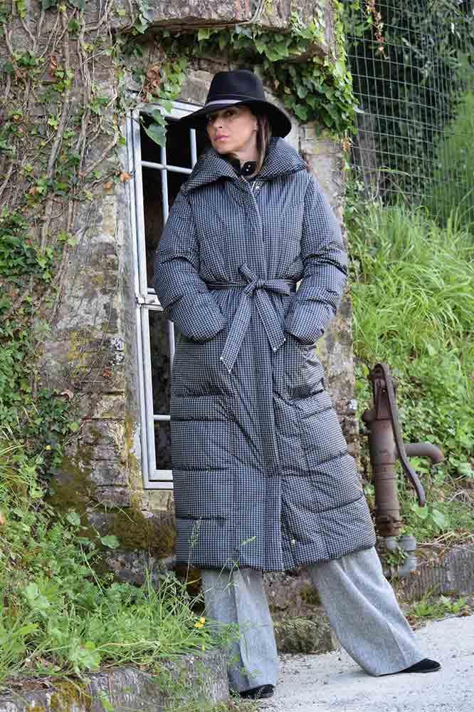 Пальто с узором гусиная лапка