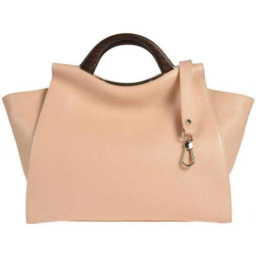 Вместительная сумка из зернистой кожи